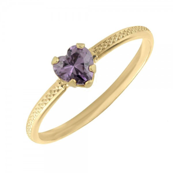 10K Yellow Gold February Birthstone Ring For Toddlers And Children (size 3 1/2)