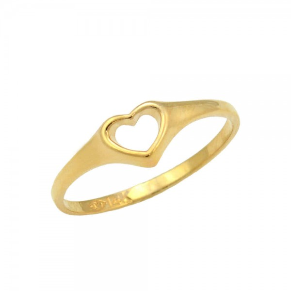 Girl's 14K Yellow Gold Open Heart Ring For Toddlers And Children (Size 2 1/2)
