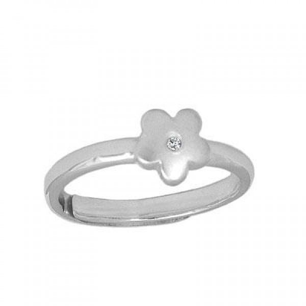 Teens Jewelry - Silver Diamond Flower Adjustable Ring From Size 5 To 10