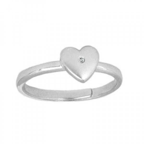 Teens Sterling Silver Diamond Heart Adjustable Ring From Size 5 To 10